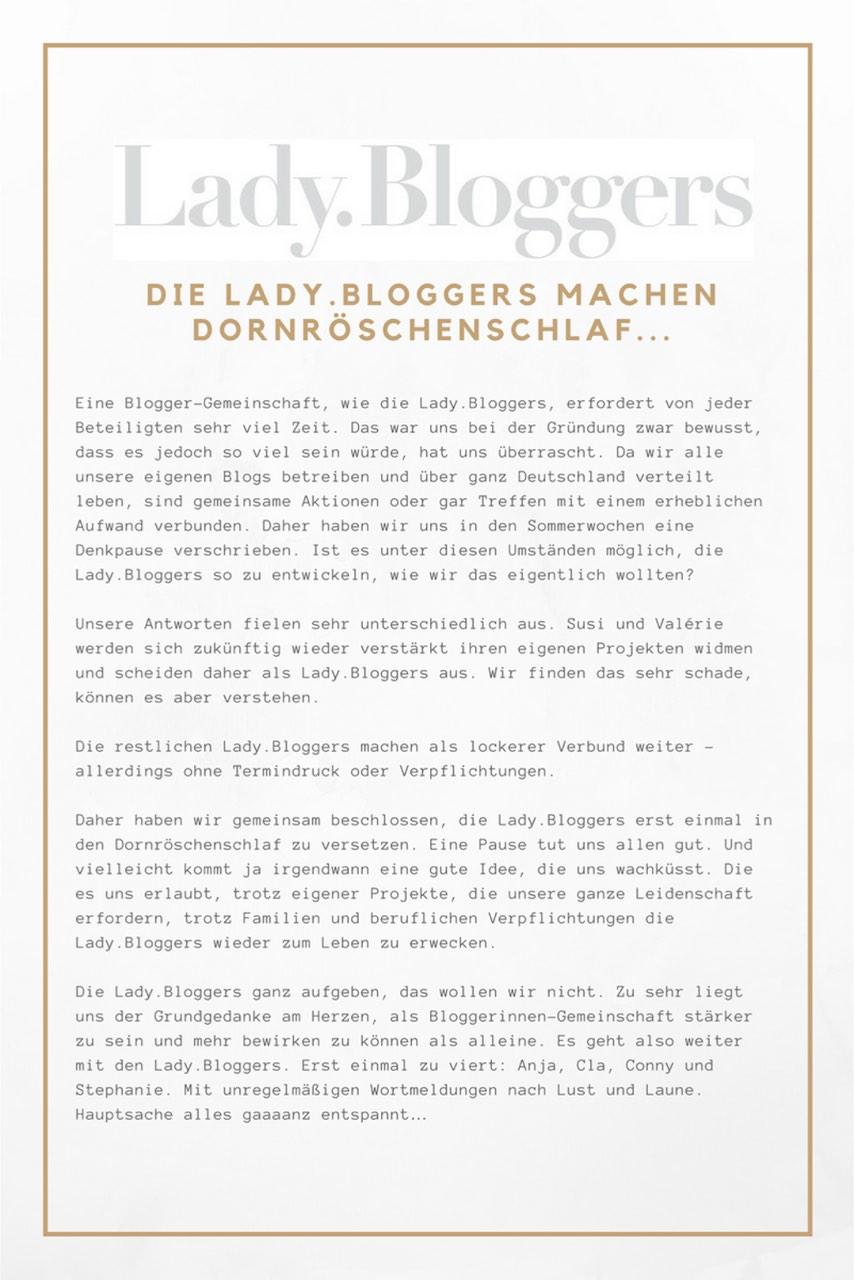 Die Lady.Bloggers gehen in den Dornröschenschlaf und machen auf kleiner Flamme zu viert weiter, bis das neue Konzept für das Bloggerprojekt steht.