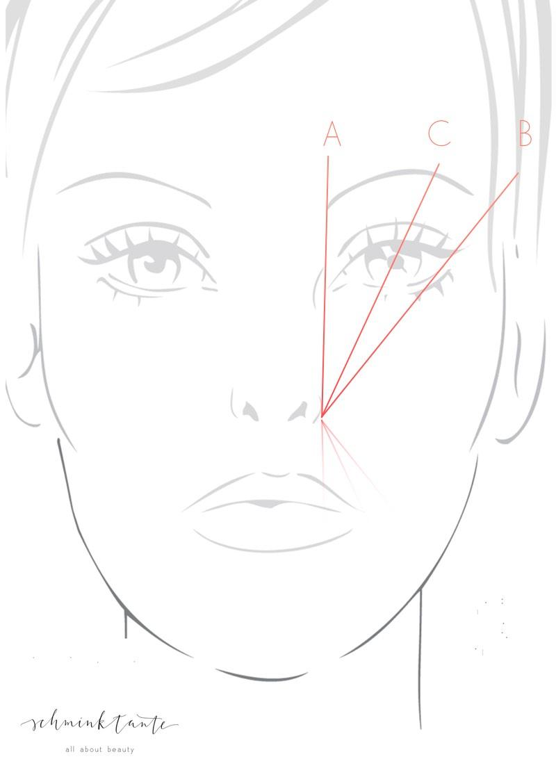 Dieses Bild zeigt, wie man die optimale Augenbrauenform ermittelt.