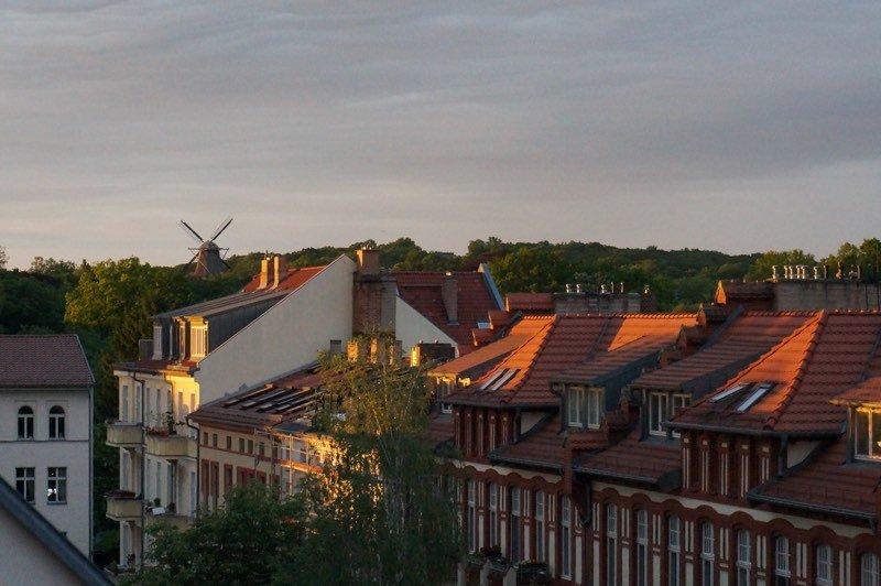 Abendlicher Ausblick auf die Windmühle von Sanssouci.