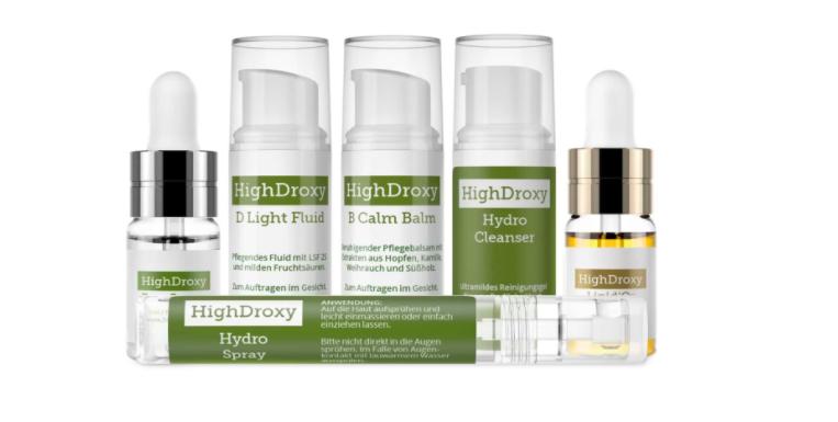 Reizarme Kosmetik zur Hautpflege von HighDroxy im Testset zum Kennenlernen.