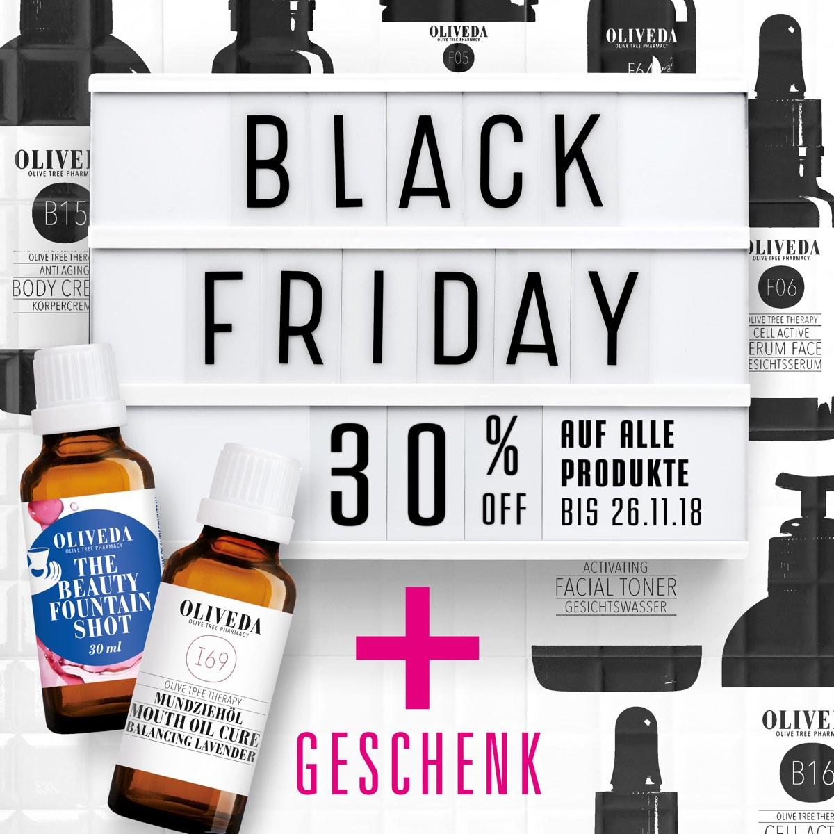 Auch bei Oliveda wird am Black Friday gespart: vom 22.-26.11.2018 gibt es 30% auf alles mit dem Code BLACKTANTE30.