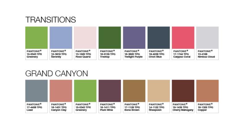 Farbkombinationen mit Greenery, der Farbe des Jahres.