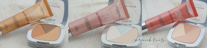 L'Oreal Perfect Match Highlighter in allen Farbnuancen.