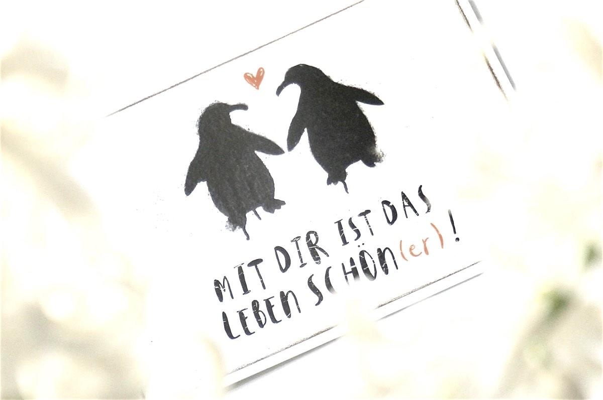 Zwei Pinguine zum Valentinstag: mit Dir ist das Leben schön(er) !