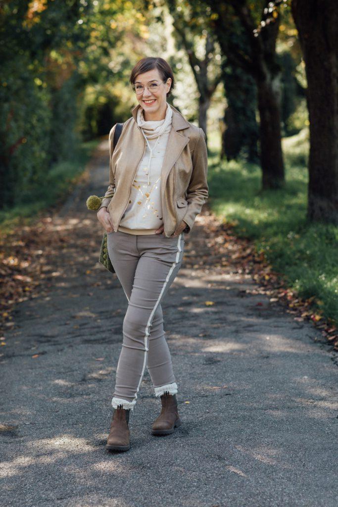 Mode, Fashion, Metalliclook, KLINGEL, Damenmode, Gold, Beige, Schminktante, Anja Frankenhäuser