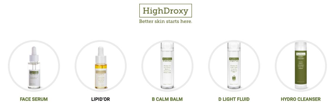 HighDroxy Sortiment zur Hautpflege.