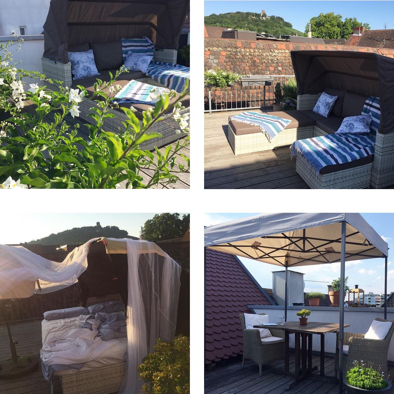 Ein kleines Karlsruhe-Update: die Terrasse hat sich ein bisschen verändert und im Dach nebenan tut sich was.