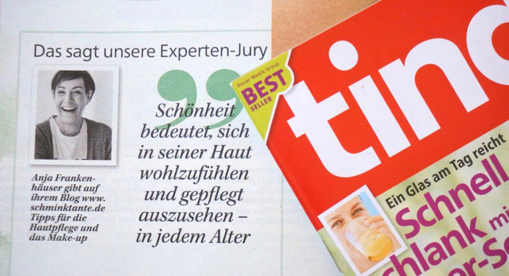 Tina, Zeitschrift, PR, Beautyblog, Top-Beautyblog,Schminktante, Anja Frankenhäuser, Anti Aging Award, Jury, Kosmetik, Anti Aging, PR